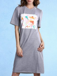 Geometric Pattern Round Neck Half Sleeve Knee Length Dress - Gray Xl