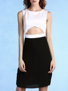 Pleated Color Block Round Neck Sleeveless Dress - White And Black 2xl