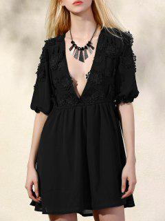 Flower Patchwork Plunging Neck 3/4 Sleeve Dress - Black S