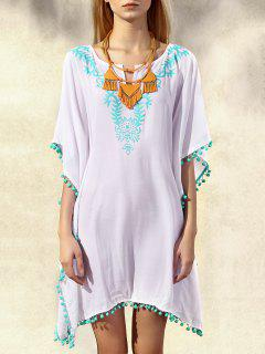 Wide Sleeve Laciness Loose Dress - White And Green