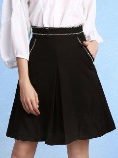 Schwarz Mit Hoher Taille Und Taschen A-Linie Rock - Schwarz 2xl