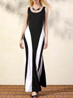 Cut Out Scoop Neck Color Block Maxi Dress - Black M
