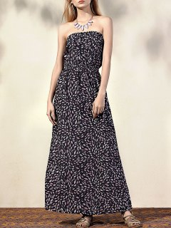 Printed Fitting Bandeau Sleeveless Maxi Dress - Black Xl