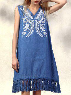 Retro Fringe Embroidered V Neck Sleeveless Dress - Denim Blue 2xl