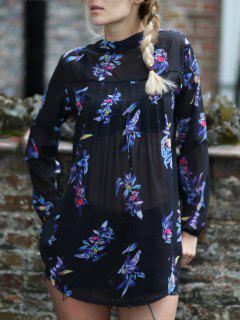 V-Neck Colorful Floral Print Long Sleeves Shirt - Black Xl