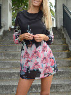 Printed Chiffon Long Sleeves Round Neck Dress - Black S