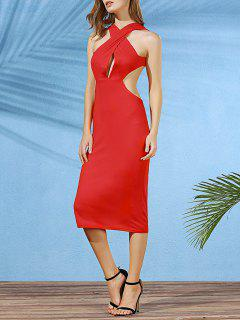 Convertible Open Back Plunging Neck Sleeveless Dress - Deep Red Xl
