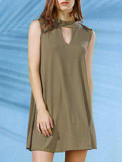 Sleeveless Swing Dress - Army Green L
