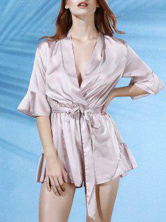 Flouncing Spliced V-Neck Butterfly Sleeve Wrap Romper - Apricot Xl