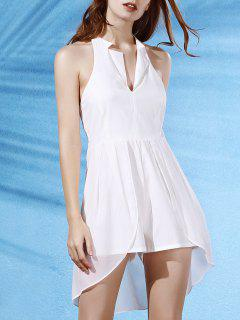 Backless Lapel Collar Spliced Solid Color Romper - White S