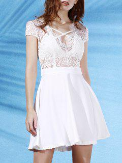 Lace Splice Plunging Neck Backless Dress - White Xl