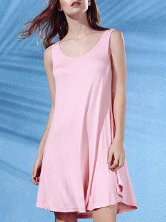 Irregular Hem Scoop Neck Sundress - Pink Xl