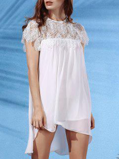 White Lace Splice Round Neck Short Sleeve Dress - White L