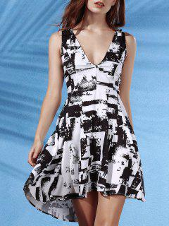 Sleeveless Deep V Neck Printed Dress - White And Black Xl