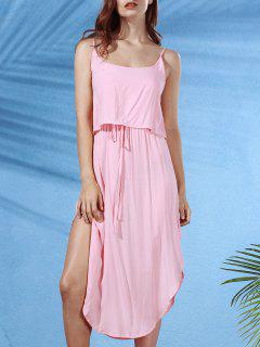 Irregular Hem Spaghetti Straps Drawstring Side Slit Dress - Shallow Pink Xl