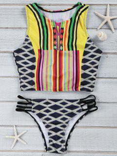Geometrical High Neck Tankini Swimwear - S