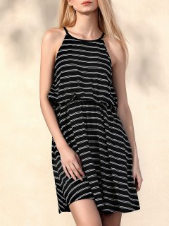 Striped Round Collar Waisted Dress - Black Xl