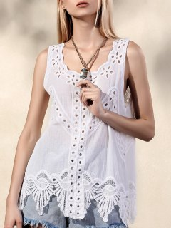 Scoop Neck Cut Out Embroidered Tank Top - White