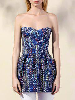 Geométrica De Impresión Vestido Sin Tirantes - Azul