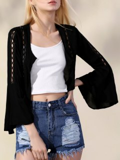 Lace Up Chiffon Flare Sleeve Blouse - Black L