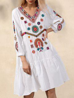 Ethnic Embroidery V Neck Long Sleeve Dress - White