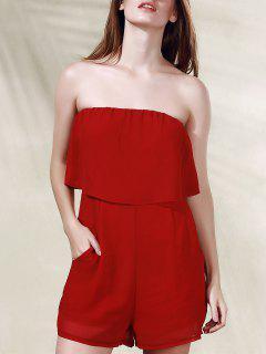 Riza El Color Sólido Sin Tirantes Romper - Rojo L