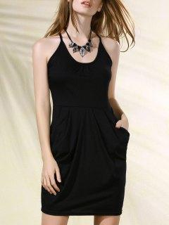 Spaghetti Strap Packet Buttocks Tulip Dress - Black Xl