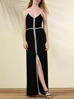 Flowing Contrasting Piped Prom Dress - Black Xl