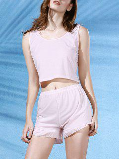 Cropped Pink Tank Top And Ruffles Shorts Suit - Light Pink Xl