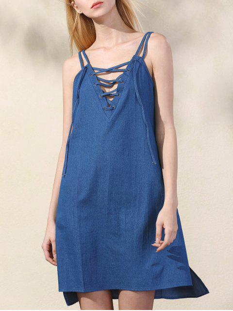 fashion Lace Up Spaghetti Straps Chambray Dress - BLUE S Mobile