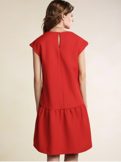 trendy Red Ruffles High Low Short Sleeve Dress - RED L Mobile