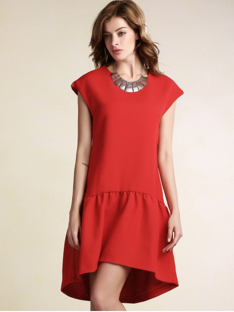 shops Red Ruffles High Low Short Sleeve Dress - RED S Mobile