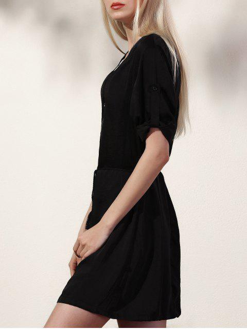 online Black V Neck Half Sleeve Dress - BLACK M Mobile