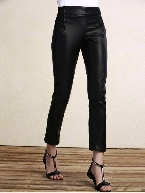 Negro PU pantalones de lápiz de cuero - Negro L Mobile