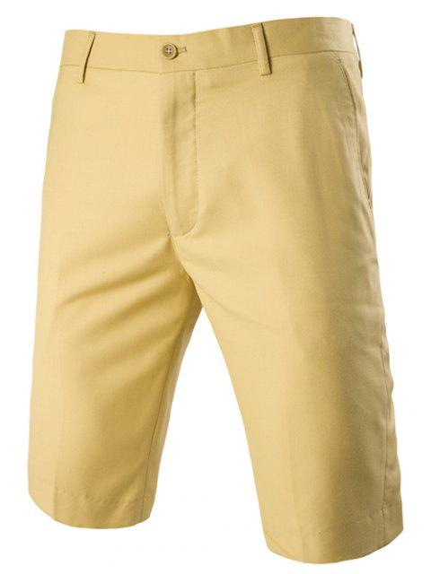 latest Casual Straight Legs Zip Fly Solid Color Shorts For Men - YELLOW XL Mobile