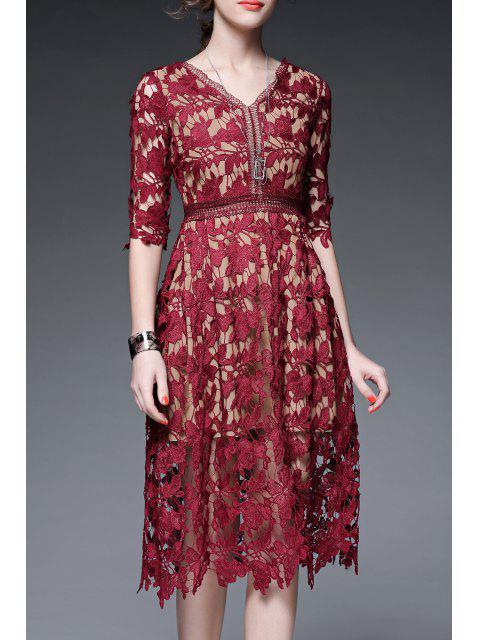 women's V Neck Crochet A Line Holiday Dress - WINE RED L Mobile