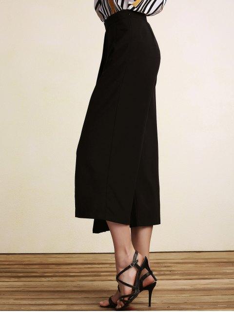 hot Black Pleated High Waist Wide Leg Pants - BLACK 2XL Mobile