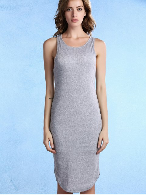 buy Solid Color Packet Buttock U Neck Sleeveless Dress - GRAY S Mobile