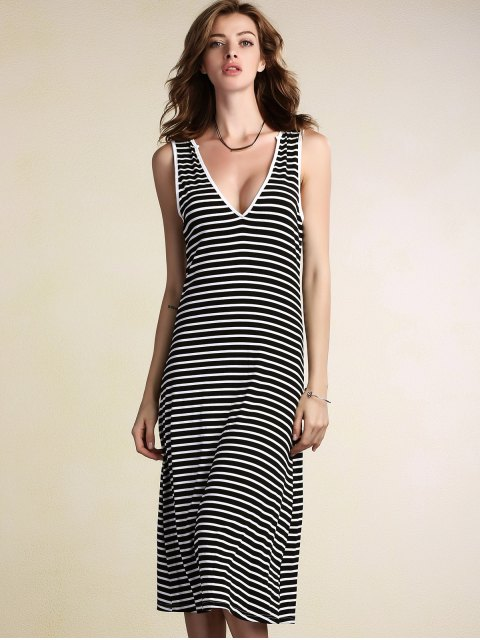 latest Stripe Plunging Neck Sleeveless Dress - STRIPE L Mobile