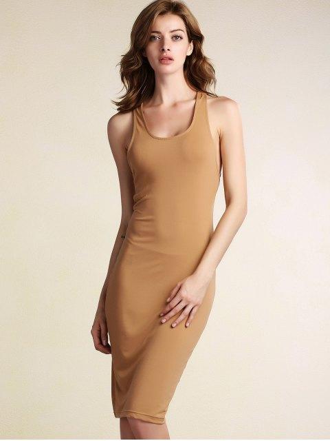 ladies Hollow Back Sleeveless Bodycon Dress - KHAKI L Mobile