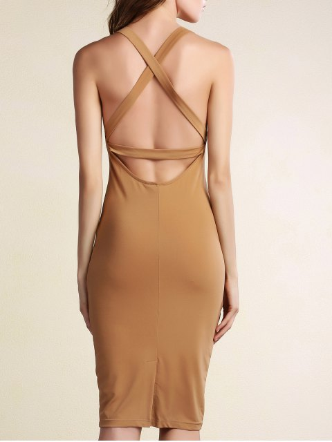 ladies Hollow Back Sleeveless Bodycon Dress - KHAKI L Mobile