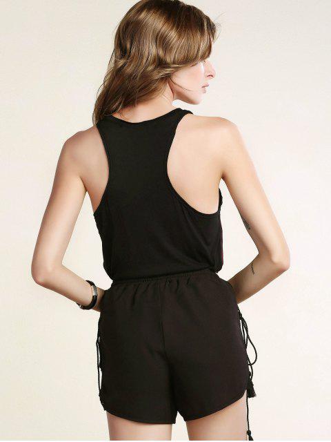 fancy Black Lace Spliced Fringe High Waist Shorts - BLACK 2XL Mobile