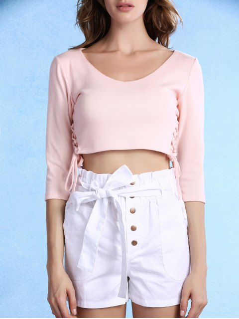 new Lace Up Scoop Neck 3/4 Sleeve Cropped T-Shirt - LIGHT PINK XL Mobile