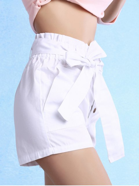 women's Solid Color High Waisted Belted Shorts - WHITE XL Mobile
