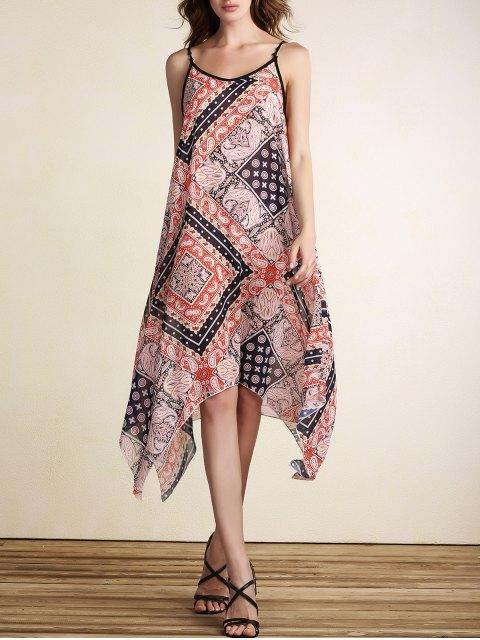 Robe casual imprimée sans manches à bretelles spaghetti - Tangerine XL Mobile