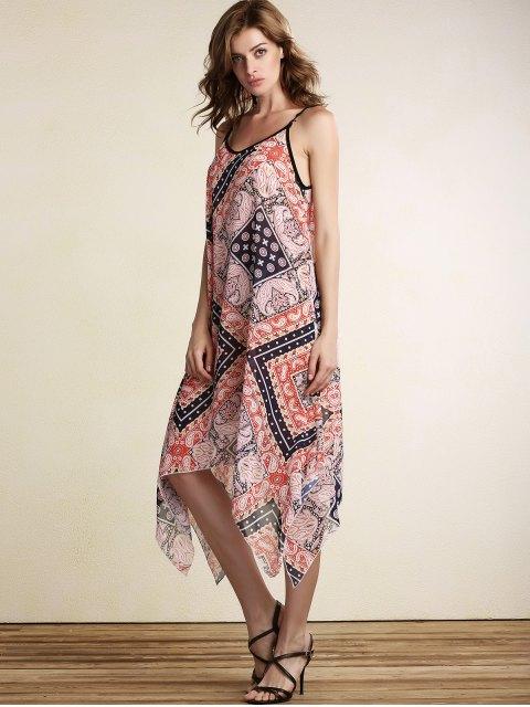 fancy Loose Print Spaghetti Straps Sleeveless Dress - JACINTH XL Mobile