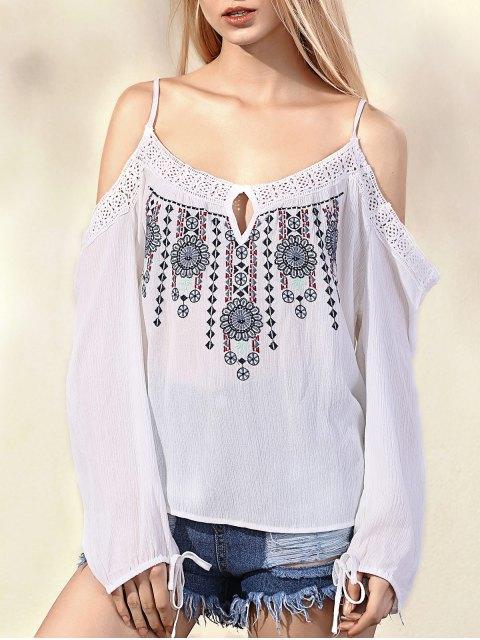 Cold Shoulder brodé bretelles spaghetti longue blouse manches - Blanc S Mobile