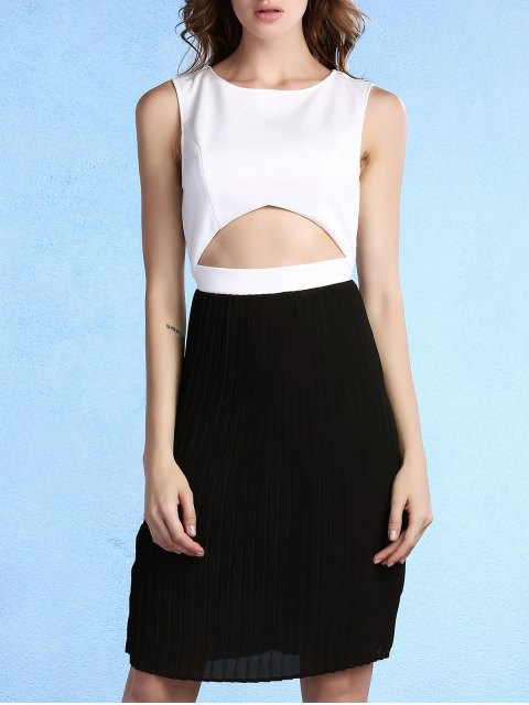 sale Pleated Color Block Round Neck Sleeveless Dress - WHITE AND BLACK L Mobile