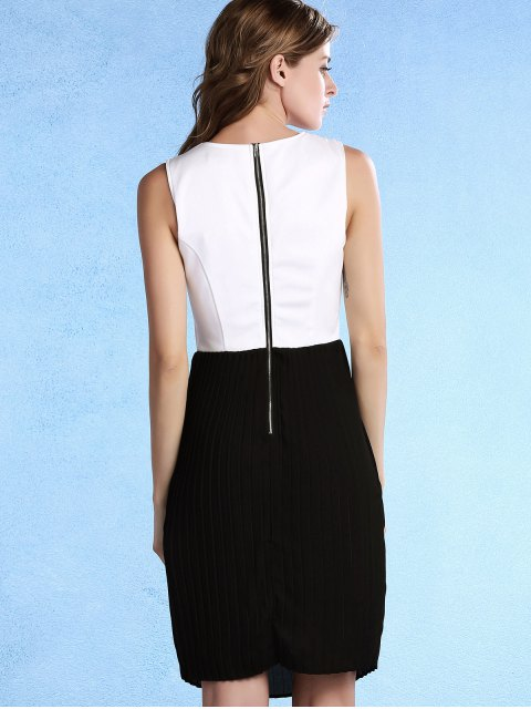 unique Pleated Color Block Round Neck Sleeveless Dress - WHITE AND BLACK M Mobile