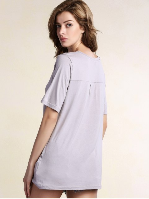 shops Floral Round Neck Short Sleeve Tee - GRAY M Mobile